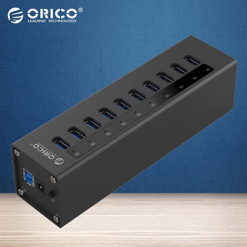 ORICO A3H10-BK Aluminum Super Speed 10 Port USB3.0 HUB 5Gbps High Speed Splitter with US/EU/UK Power Adapter-Black