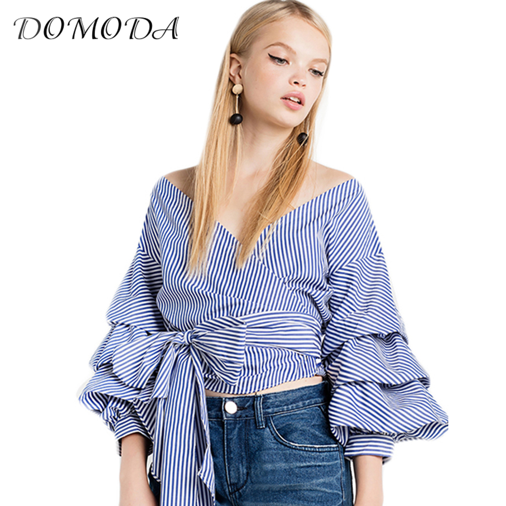 DOMODA Ropa Sexy V-cuello Ocasional Mujeres Camiseta Tops Raya Globo Wrap Tie To
