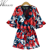 цена на Wmwmnu Shorts Rompers Women Jumpsuits Summer Sexy Deep V Neck Short Sleeve Floral plus size 5XL Tie Waist Casual Jumpsuit LS191