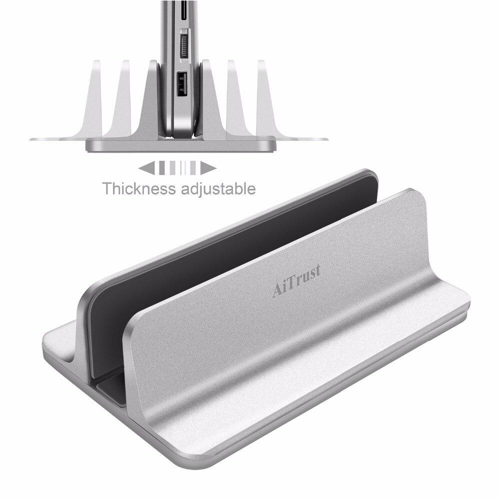 Humorvoll Aluminium Vertikale Laptop Stehen Dicke Einstellbare Desktop Notebooks Halter Aufgestellt Platzsparende Stehen Für Macbook Pro/air