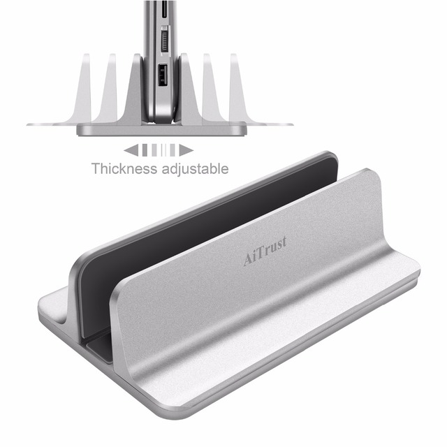 Aluminum Vertical Laptop Stand Thickness Adjustable Desktop NoteBooks Holder Erected Space-saving Stand for MacBook Pro/Air