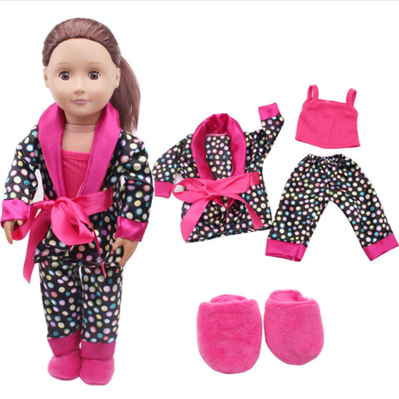 4pieces a set 18 inch American Girl Doll Sleep pajama sets flip 43cm Baby Born zapf clothes set toys gift for girl