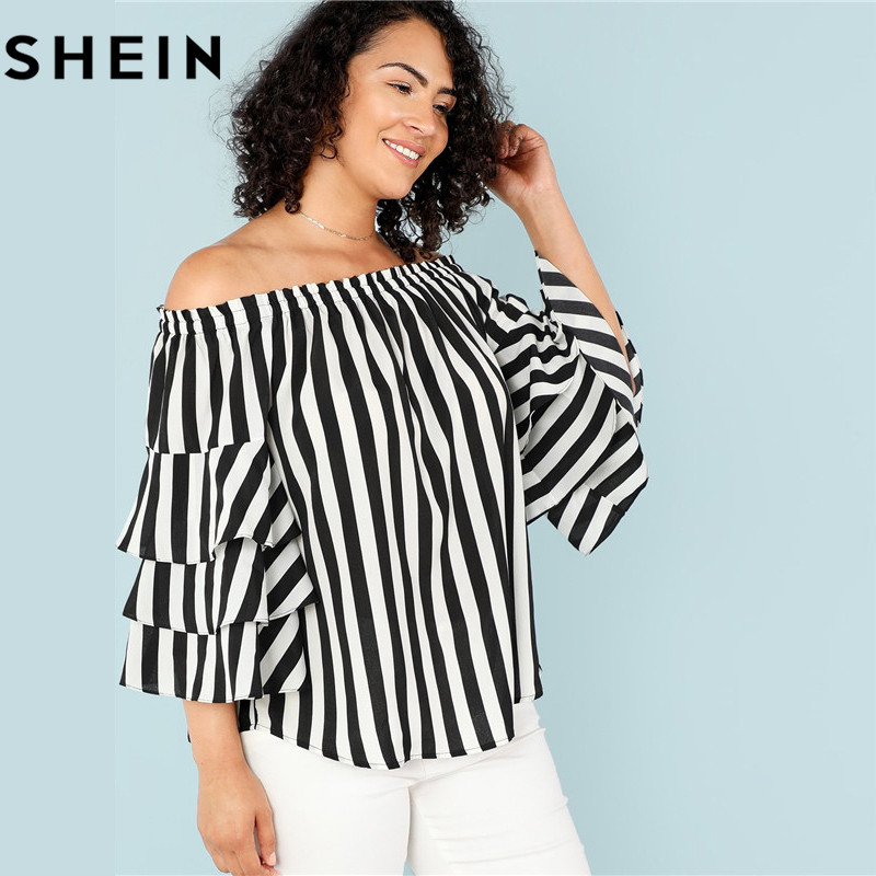 49e187d7ca2 SHEIN Black And White Stripe Off The Shoulder Casual Women Blouses Plus Size  Spring Fall Layered Butterfly Sleeve Top Clothing