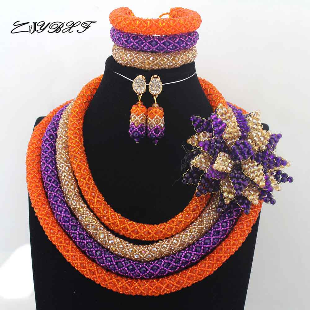Fashionable New Orange Purple Gold Crystal African Jewelry Set Big Flower Pendant Engagement Necklace Set Free Shipping L0064
