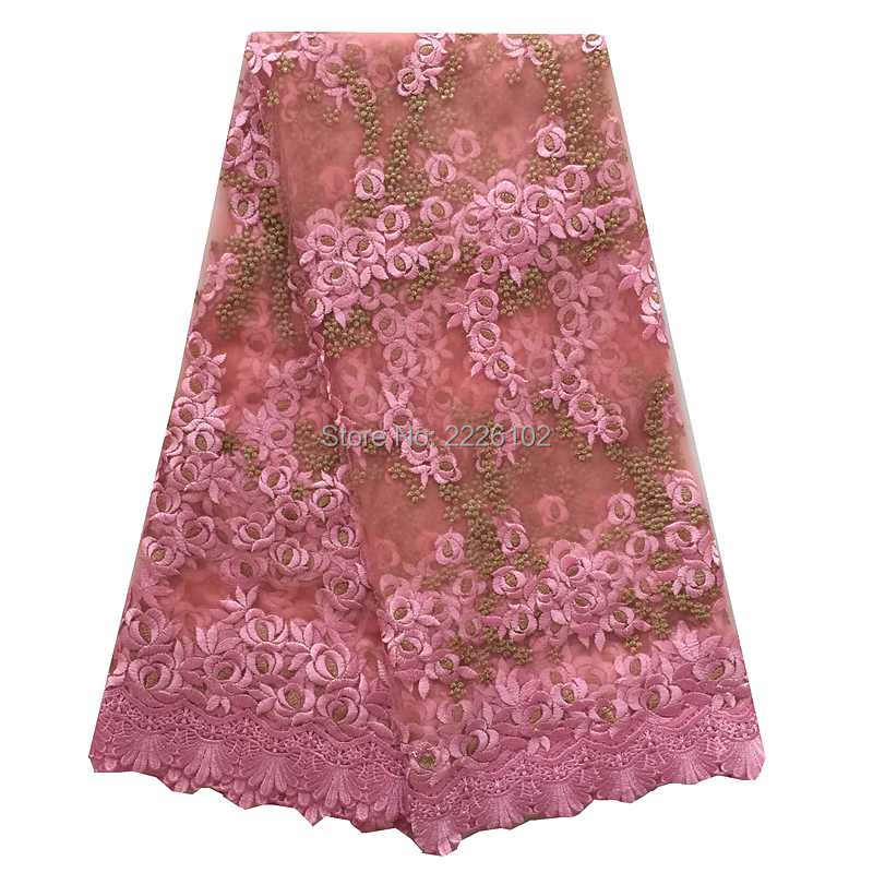 New Design Black Sweetheart Lace Up Crystal Embroidery: Latest Embroidery Tulle Lace Fabric Pink Green Blue Orange