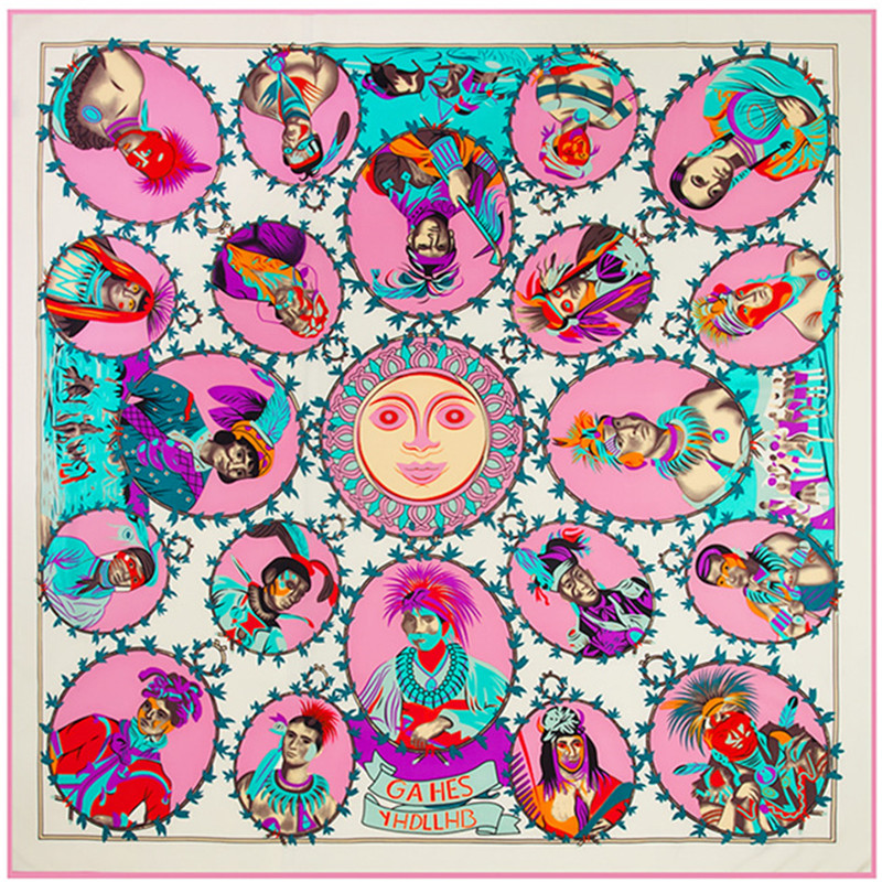 2019 Luxury Brand Shawl Indian Portrait Print Giant Scarf In 100% Silk Twill Silk Scarf For Women,Large Square Scarves Headband