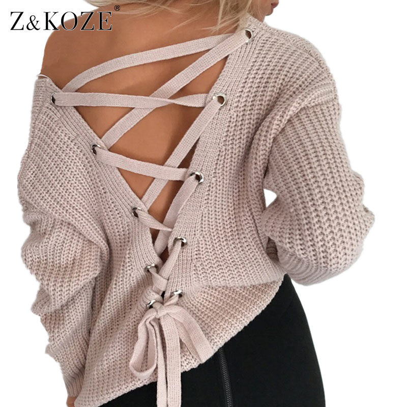 Z&KOZE Sexy backless knitting pullover Fashion lace up autumn winter sweater women hollow out jumper pull femme Loose tops