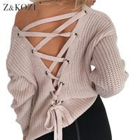 Z KOZE Sexy Backless Knitting Pullover Fashion Lace Up Autumn Winter Sweater Women Hollow Out Jumper