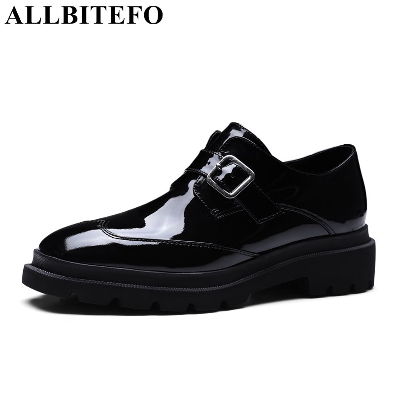 ALLBITEFO large size:34-42 Patent leather brand buckle women pumps thick heel platform spring pumps casual shoes girls shoes цена 2017