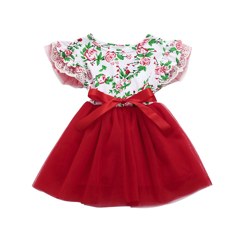 2018 Summer New Baby Girls Infant Toddle Floral Lace Tutu Sleeveless Clothes Princess Dress Clothes Children dress P3