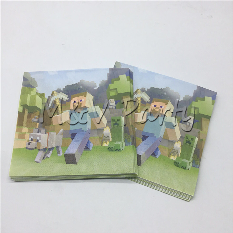 20pcs Lot Minecraft Theme Diposable Napkin Paper Napkin