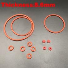 1 шт. 150x8,6 150*8,6 155x8,6 155*8,6 160x8,6 160*8,6(диаметр* Толщина) Еда Класс красная силиконовая резина масло уплотнительное кольцо