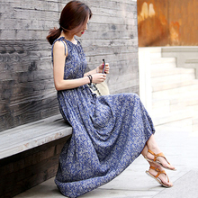 Women Fashion Boho Floral Sleeveless Long Dress Summer Maxi Evening Party Clothes