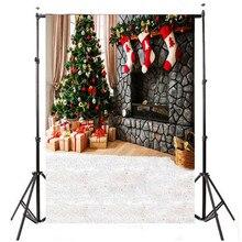 5 x 7ft Vinil Pano de Fundo Estúdio de Fotografia Pano de Fundo Da Foto Da Árvore de Natal Meias Vermelhas Leves 2.1×1.5 m