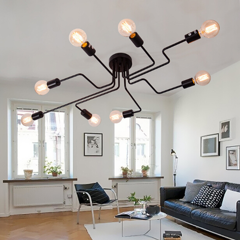 Vintage Ceiling Lights For Home Lighting Luminaire black/white Wrought Iron Ceiling Lamp E27 Bulb Living Room Lamparas De Techo fashion vintage metal rope chandelier ceiling lamp 6 candle lights lighting fixtures iron black rusty color for home lighting
