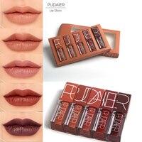 6Pcs Set Pumpkin Color Series Matte Lipstick Makeup Waterproof Nude Liquid Velvet Matte Liquid Lip Gloss
