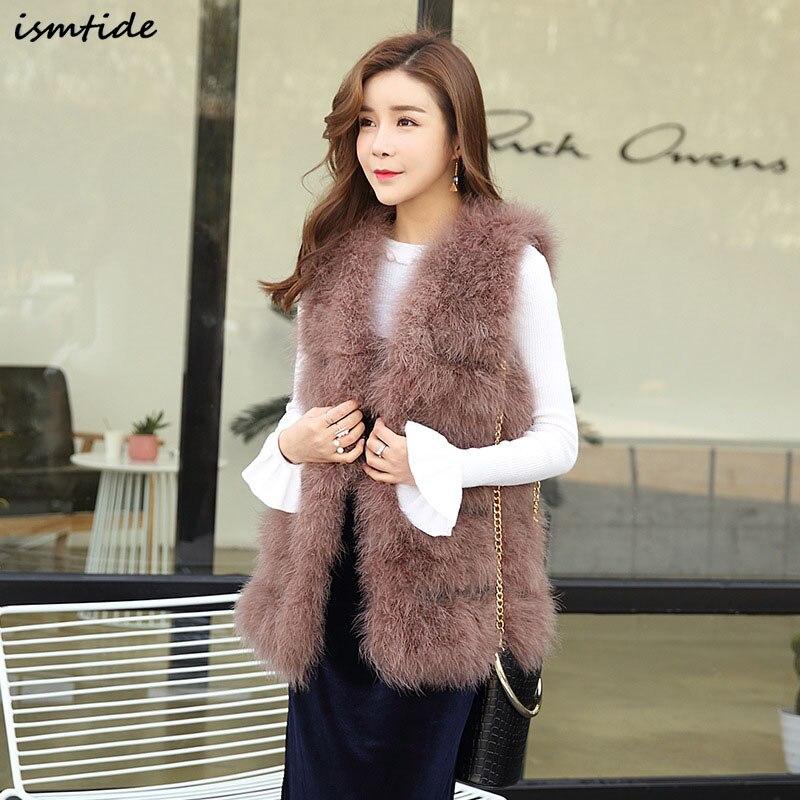 Fashion Women Vest Genuine Ostrich Feathers Fur Vest Real Turkey Fur Trimming Waistcoat Winter Fur Jacket