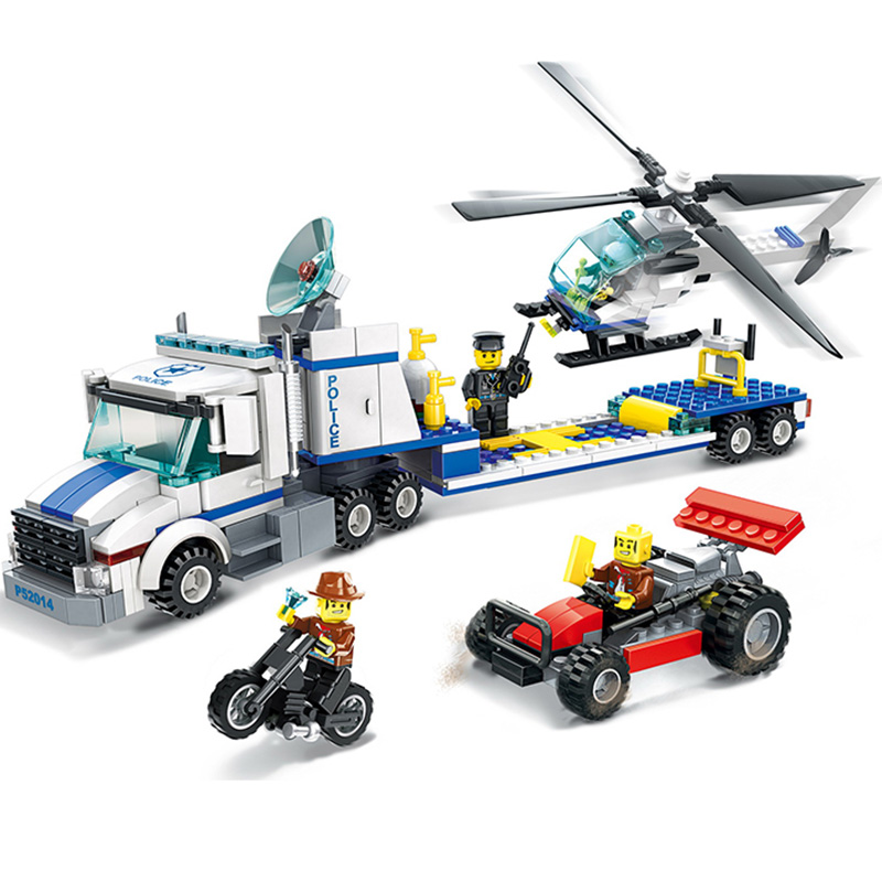 WANGE City Police Helicopter Transport 3D DIY Model Building Block Kits Assemblage Educational Toys Gifts For Children Birthday jie star police pickup truck 3 kinds deformations city police building block toys for children boys diy police block toy 20026