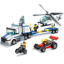 WANGE City Police Helicopter Transport 3D DIY Model Building Block Kits Assemblage Educational Toys Gifts For