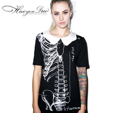 2015 Summer New short Sleeve Skull Print T shirt Cotton Plus Size Tops Europe skeleton t-shirt Peter Pan Doll Collar women