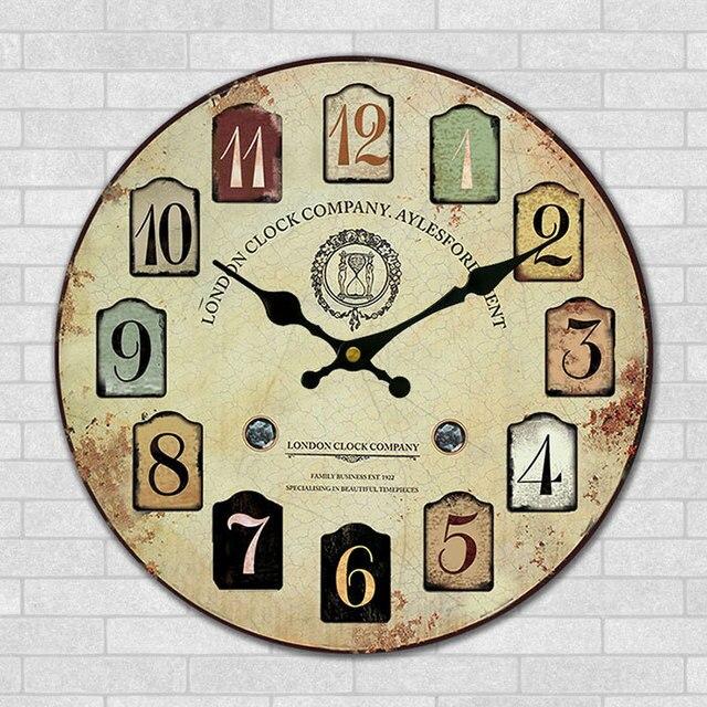 30 cm en bois horloge murale moderne londres mode mur d cor horloge vintage boutique bar for Horloge murale bois moderne