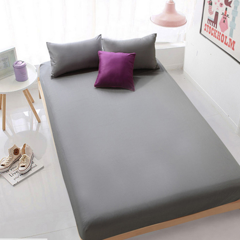 Enipate Grey Bed Sheet Fitted Sheet with Round Elastic Plain Bedding