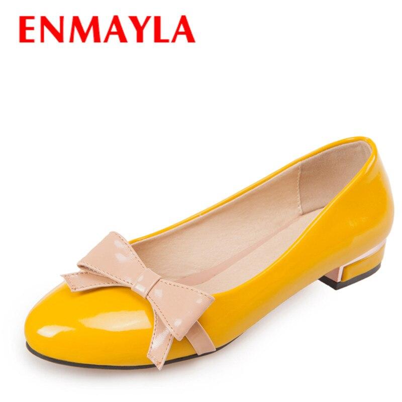 ENMAYER Fashion bowtie closed Toe Square heel platform pumps Casual shoes women Slip-On big size 34-43