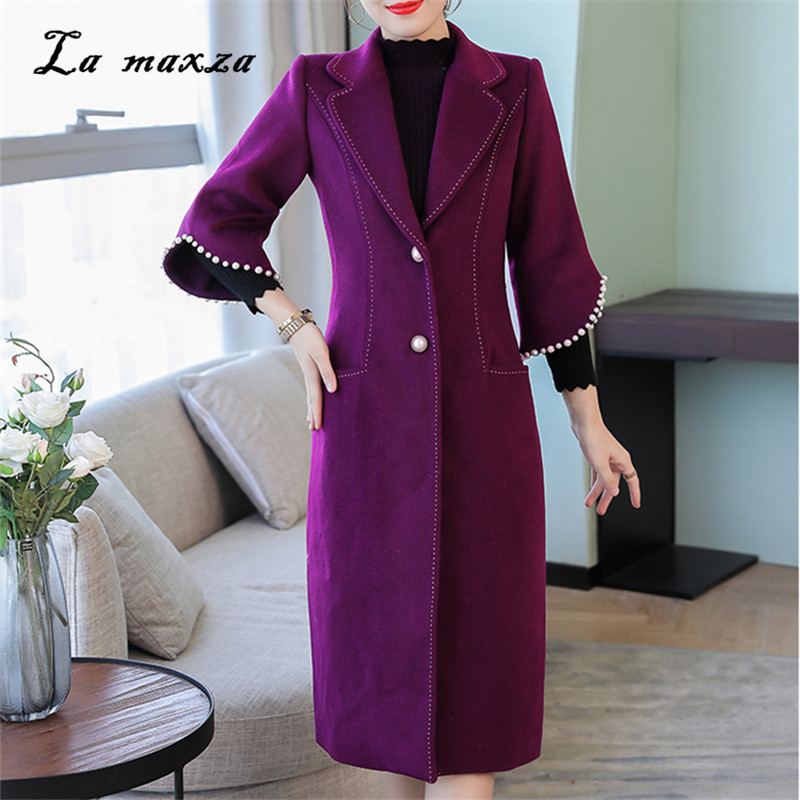Manteaux De 2018 4xl Laine Chaud La Style Plus Taille Long Manteau D'hiver Élégant Vêtements Coréen Femme Outwear Mode qXxt1xwP