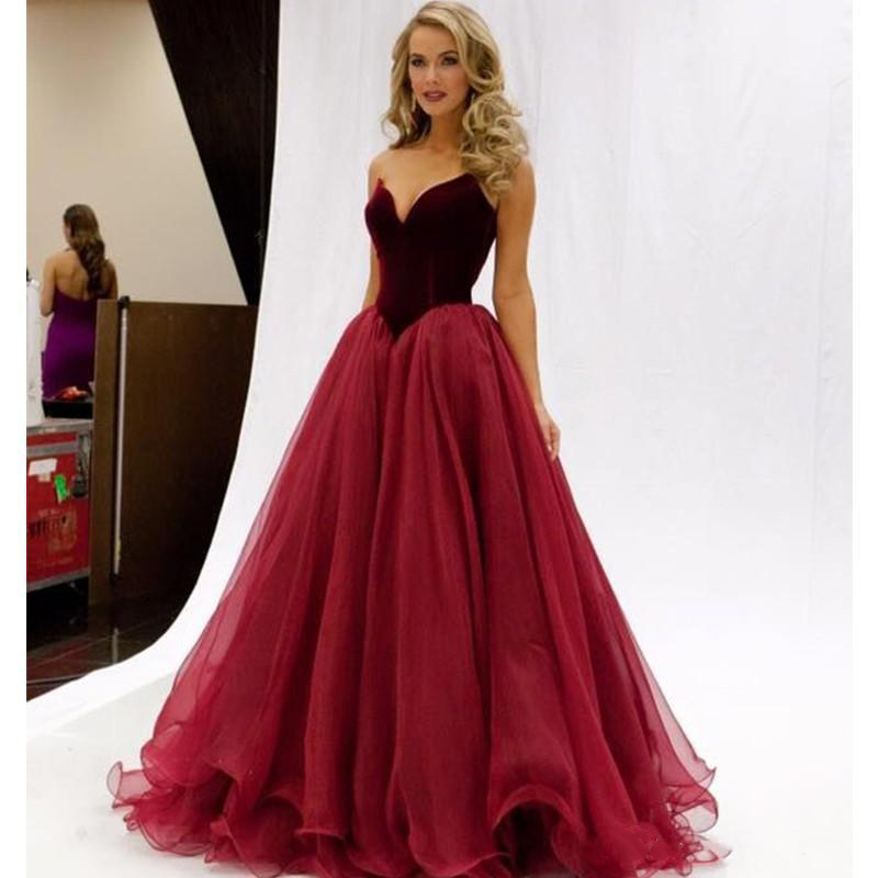 Gorgeous Velvet Top Wine Red Evening Dresses  A Line Bodice Sweetheart Sleeveless Ruched Organza Prom Dresses