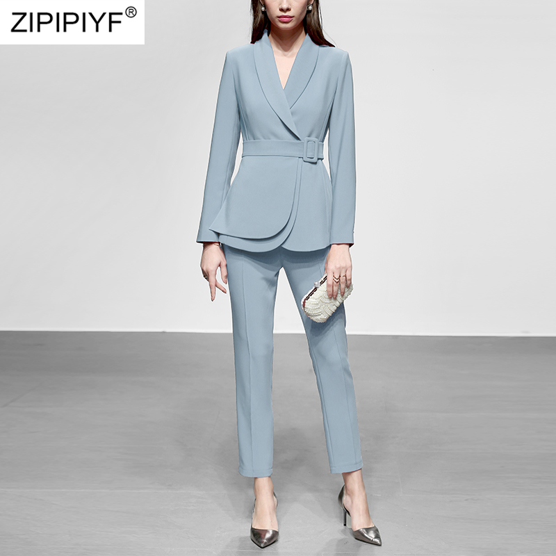 Runway Designer Ladies 2019 Spring 2 Piece Set Women Elegant Turn Down Collar Slim Black Coat