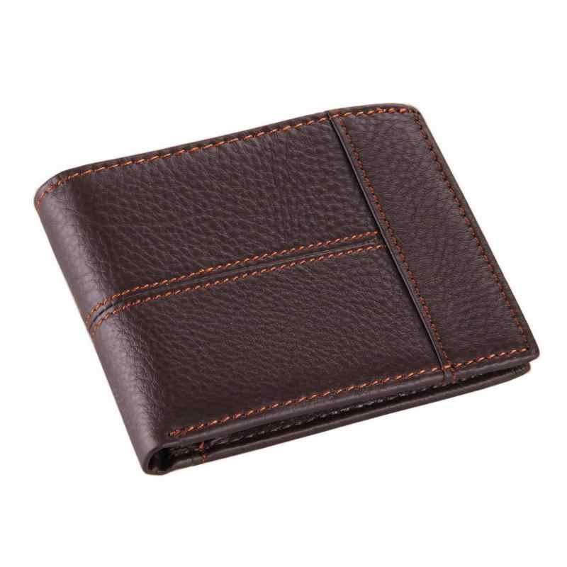 db307121997e ... Короткие из натуральной кожи Для мужчин кошелек Брендовые однотонные  кожаный бумажник Для мужчин корова кожаный кошелек ...