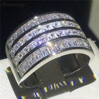 Choucong Мода Принцесса cut кольцо 925 пробы серебро AAAAA Cz камень Обручение обручальное кольцо кольца для Для женщин мужчин палец ювелирные издели