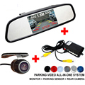 New 3 in 1 Car Video Parking Sensor Assistance System With Rear View Camera + 4.3 inch LTF LCD Car Mirror Monitor