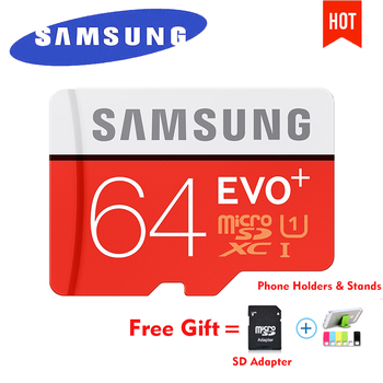 SAMSUNG EVO Plus Micro SD card 64GB 32GB 16GB 256GB Class10 MicroSDSDXC UHS-I 80MB/S SDHC TF card 64GB 128GB + SD Adapter 256g