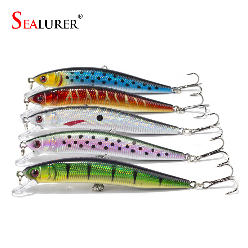 SEALURER Brand 5pcs Lifelike Fishing Lure 10cm 8.3g 6# Hooks Pesca Fish Minnow Lures Wobbler Isca Artificial Hard Bait Swimbait wldslure 1pc 54g minnow sea fishing crankbait bass hard bait tuna lures wobbler trolling lure treble hook