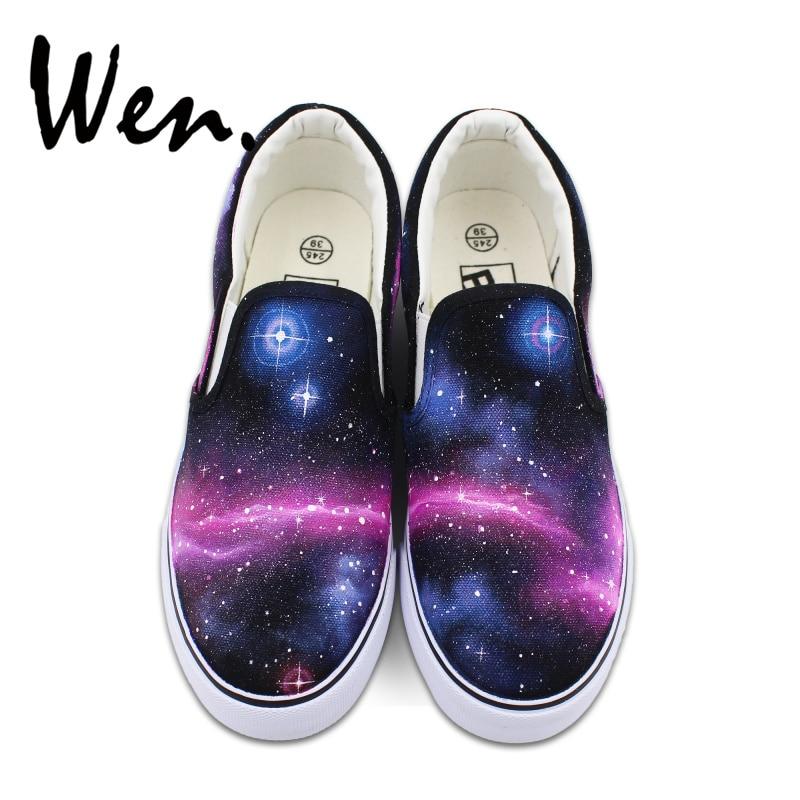 Wen Blue Purple Galaxy Space Original Design Custom Hand Painted Shoes Unisex Black Slip On Canvas Sneakers unisex galaxy nebula space sweatpants joggers sportswear pants blue l