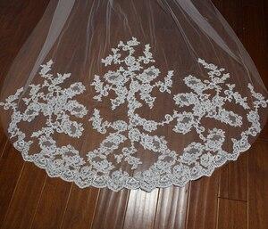Image 5 - Bride Veils White/Ivory Applique Tulle 3 meters veu de noiva long wedding veils bridal accessories lace bridal veil v1105