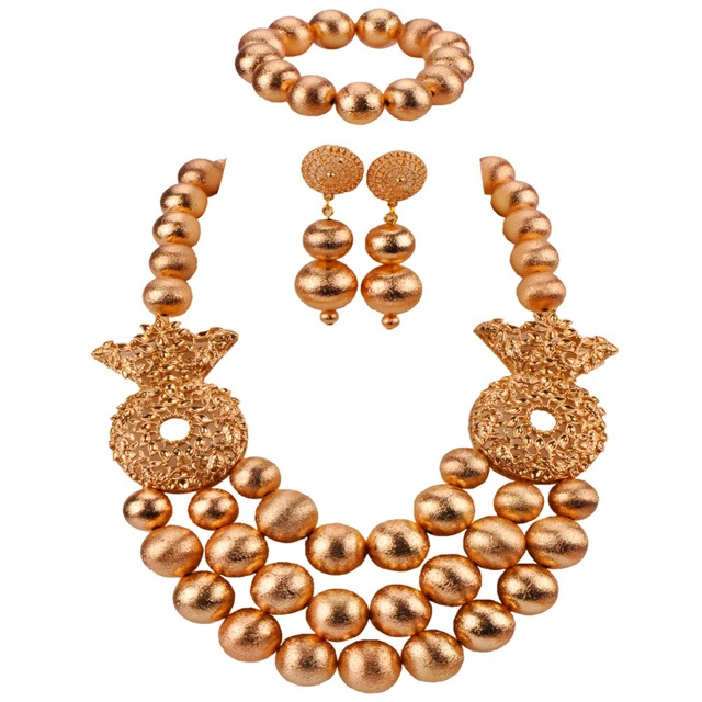 New Design Fashion Gold African Beads Jewelry Set Nigerian Wedding Necklace Sets Dubai Bridal Jewelry Sets CBS48