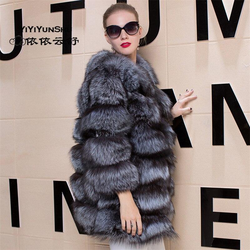 Luxe Manteau Femmes Femme Chaud Mode Pour Silver Épais À Naturel Fourrure Manteaux Véritable Pardessus Fox La Fur De LzSMqpUVG