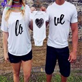 Letter Love Family Matching T-shirt Short Sleeve Baby And Mom Clothes Cotton Dad Mom Baby Family Suits Heart Pattern Romper Baby