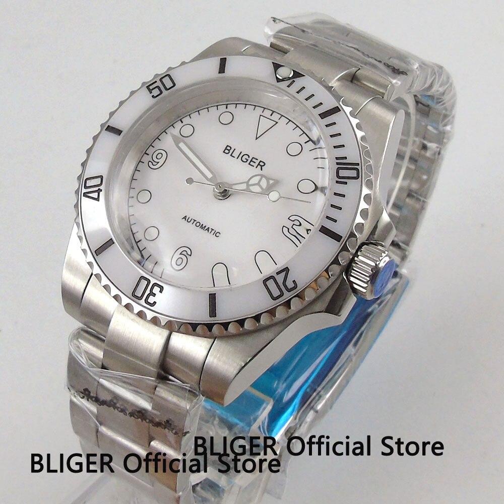 Solide BLIGER 40 MM cadran blanc blanc en céramique lunette lumineuse marques en plastique verre mécanique mouvement automatique montre pour hommes B110