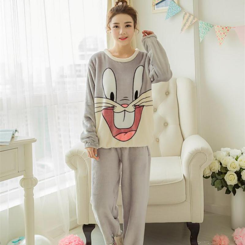 Women Sweet 2Pcs Flannel Shirt&Pants Suit Winter Thicken Warm   Pajamas     Set   Girl Sweet Sleepwear Negligee Casual Home Clothes
