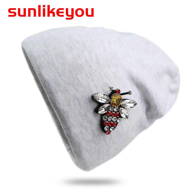 Sunlikeyou 2019 ใหม่ Unisex ทารกแรกเกิดหมวกสำหรับชายหญิง Rhinestone Bee ฝ้ายนุ่มเด็กวัยหัดเดินหมวกเด็กหมวกหมวกเด็ก