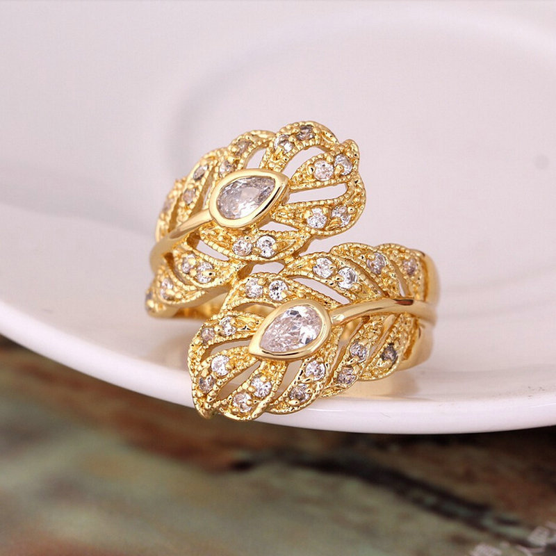 New Design Gold Color Big Wedding Rings Vintage AAA Zircon Leaf ...