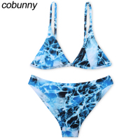 Cobunny 2017 Sexy Bikini Women Swimsuit Push Up Swimwear Female Bandeau Brazilian Bikini Set Blue Printed