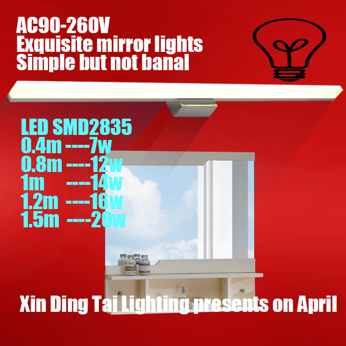 Led mirror light brief modern bathroom lamp stainless steel ultra long Large makeup wall lamp AC 90-260V,110v,220v,,boutique dvolador luxury crystal led mirror front light 10w 15w ac110 220v bathroom waterproof anti fog led stainless steel wall light
