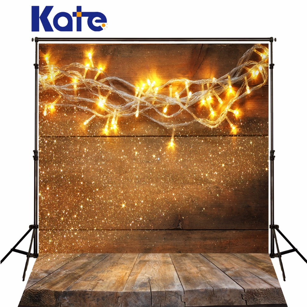 Kate Christmas Photo Background Wood Wall And Wood Floor Yellow Lights For Children Photography Backdrops Stage Backgrounds kate wood photography photography white brick wall backdrops gray wood floor baby backgrounds for photo shoot print cm 5674