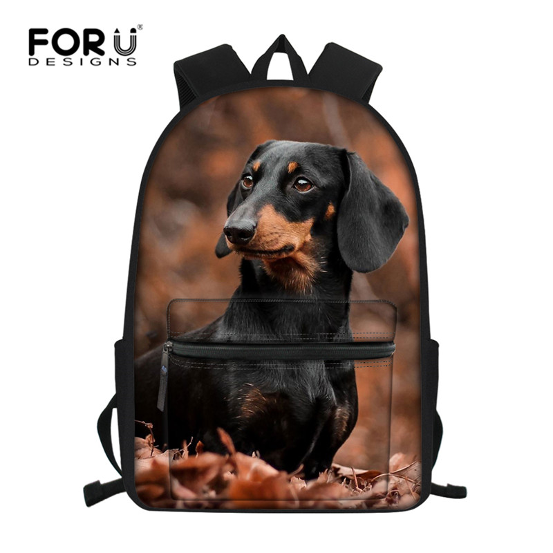 FORUDESIGNS Dachshund Schoolbag Kids Children's Backpack Cute Boy Girls Shoulder Bag Custom Custom Women  Rucksack Mochila