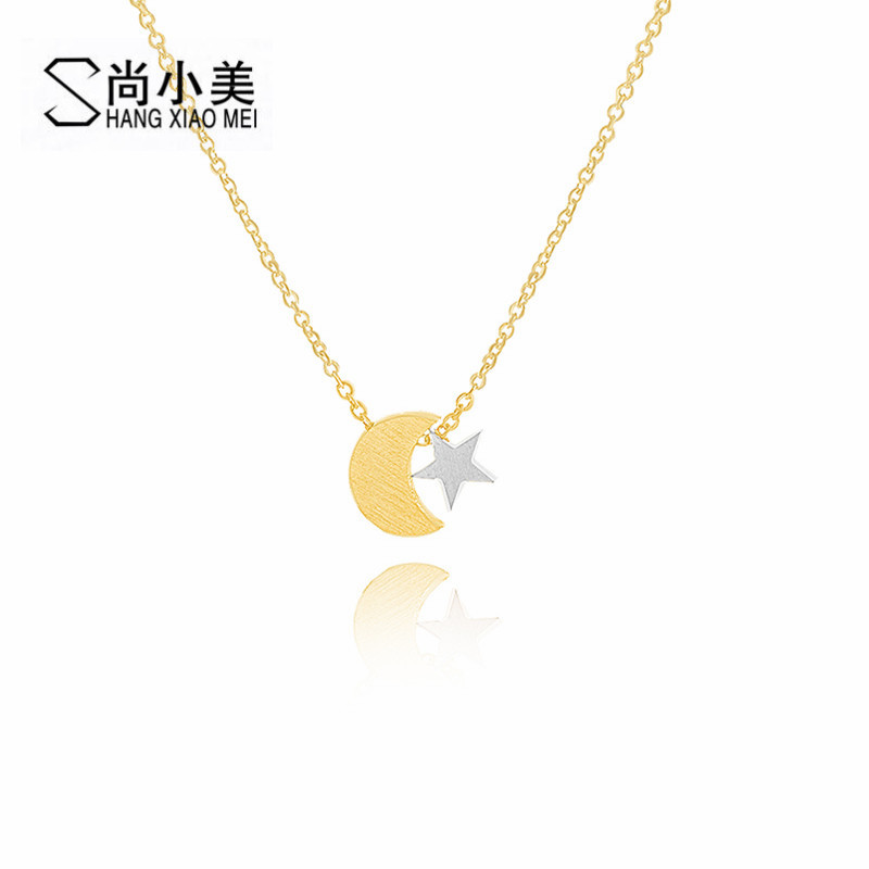 Women's Fashion Maxi Star Crescent Moon Pendant Necklace Stainless Steel Gold Silver Color Tattoo Choker Bridesmaid Gifts 2017