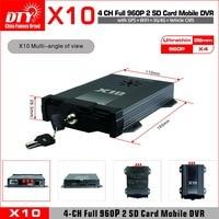 DTY 720 P camion bus taxi 3g 4g 4 canali scheda sd auto mobile DVR  x10s-4GW kit (X10S-4GW dvr + 4 AHD camera + 5 M cavo di estensione)